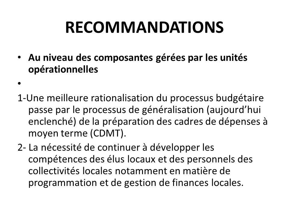 RECOMMANDATIONS Au niveau des composantes gérées par les unités opérationnelles.