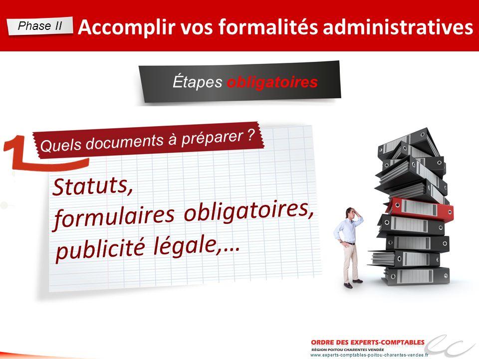 Statuts, formulaires obligatoires, publicité légale,…
