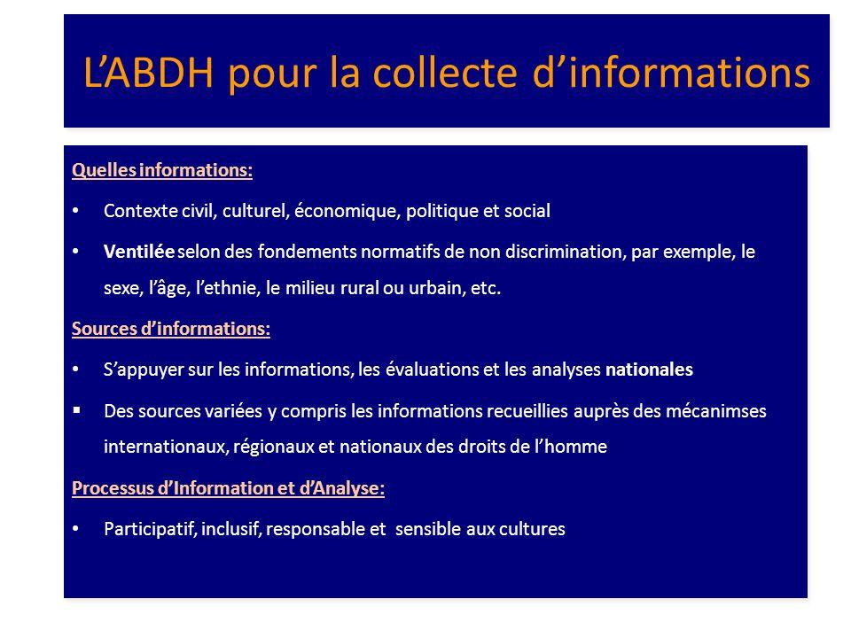 L'ABDH pour la collecte d'informations