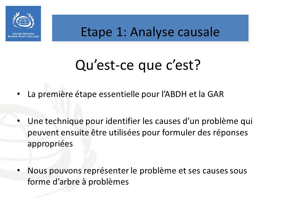 Etape 1: Analyse causale