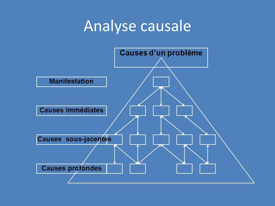 Analyse causale Causes d'un problème Manifestation Causes immédiates