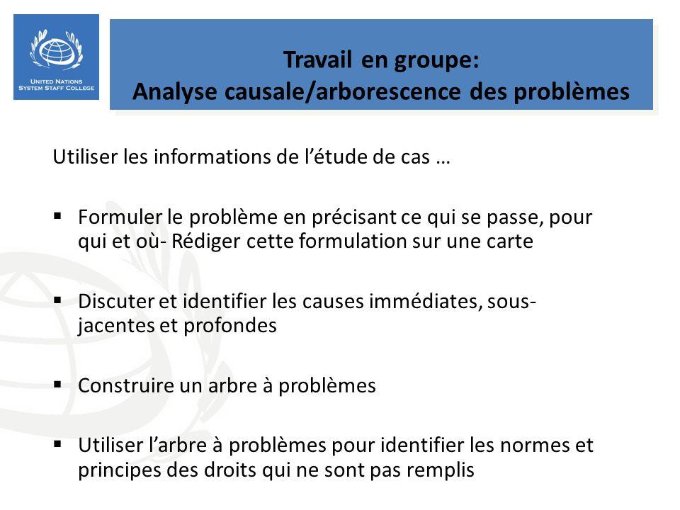 Travail en groupe: Analyse causale/arborescence des problèmes