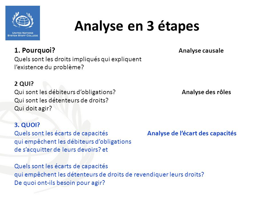 Analyse en 3 étapes 1. Pourquoi Analyse causale