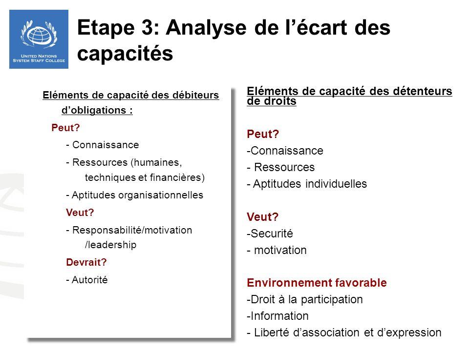 Etape 3: Analyse de l'écart des capacités
