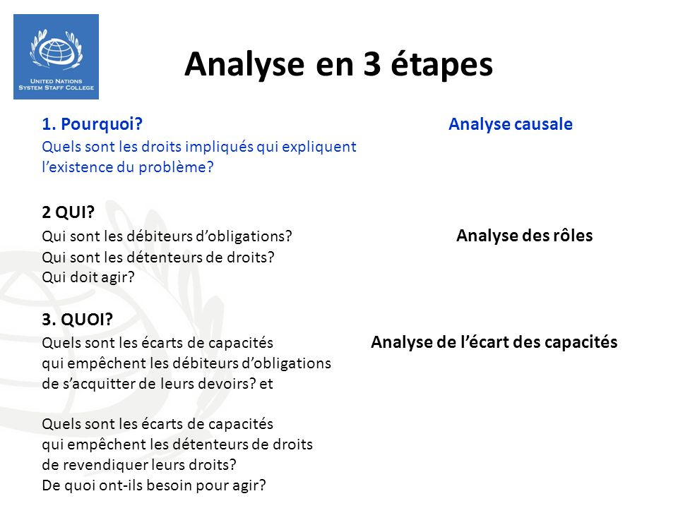 Analyse en 3 étapes 1. Pourquoi Analyse causale 2 QUI 3. QUOI