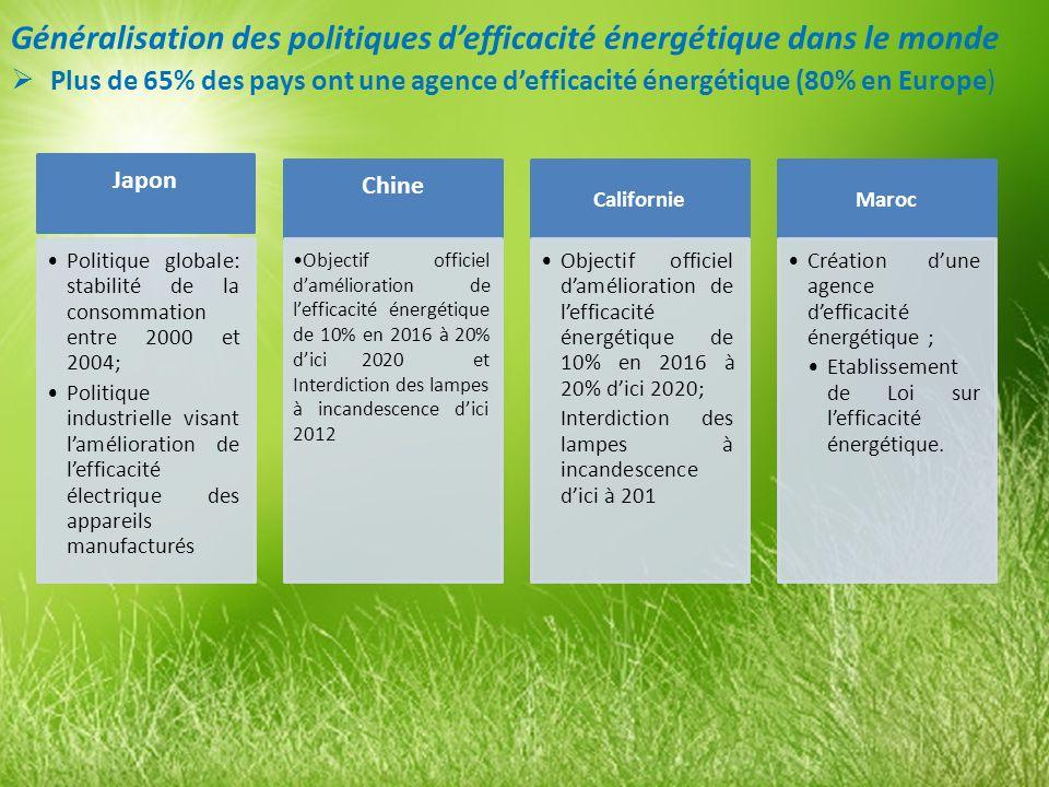 Généralisation des politiques d'efficacité énergétique dans le monde
