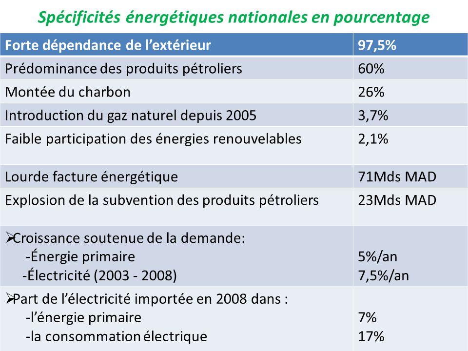 Spécificités énergétiques nationales en pourcentage