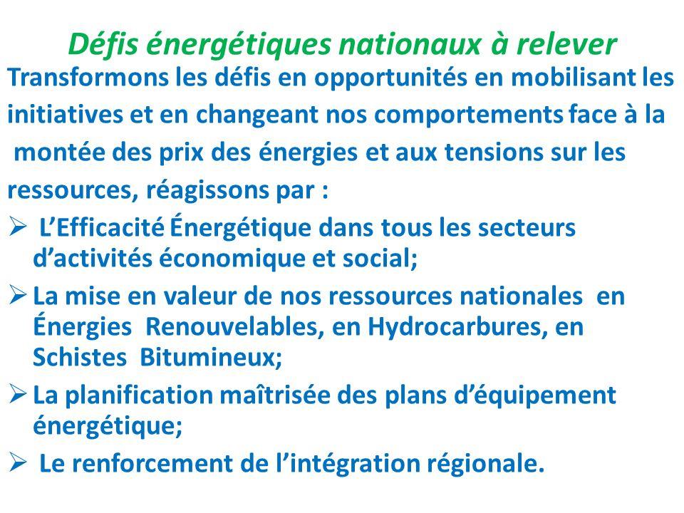 Défis énergétiques nationaux à relever
