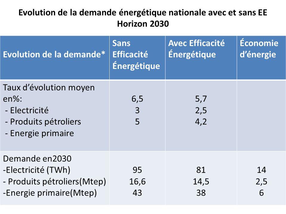 Evolution de la demande énergétique nationale avec et sans EE Horizon 2030