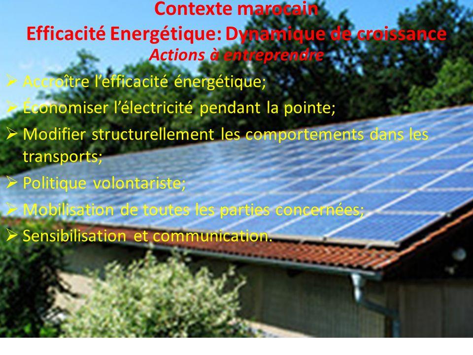 Contexte marocain Efficacité Energétique: Dynamique de croissance