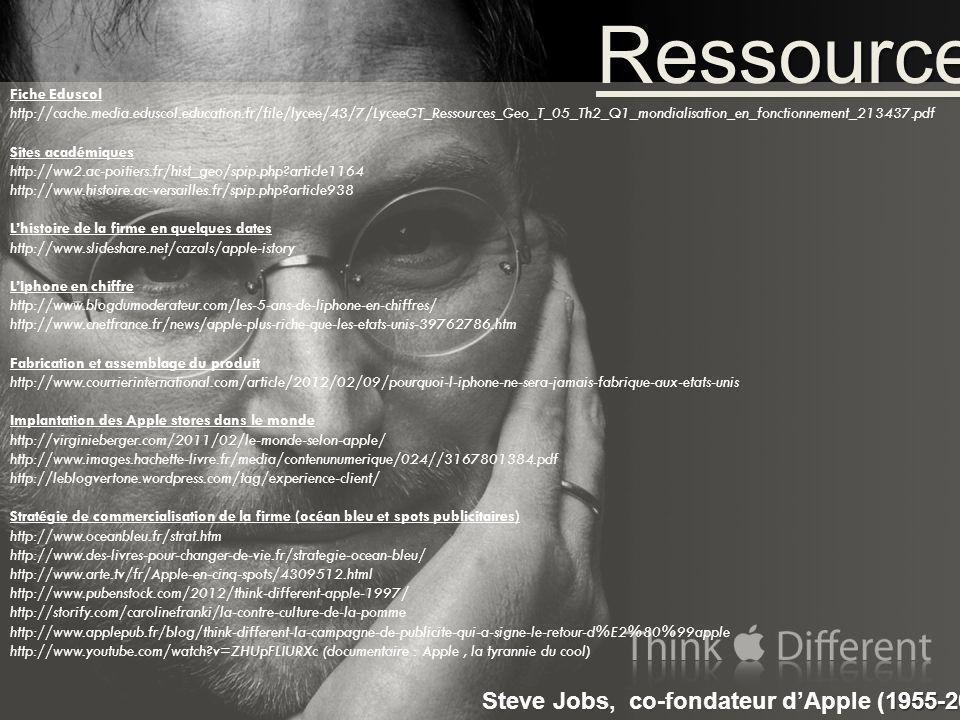 Ressources Steve Jobs, co-fondateur d'Apple (1955-2011) Fiche Eduscol