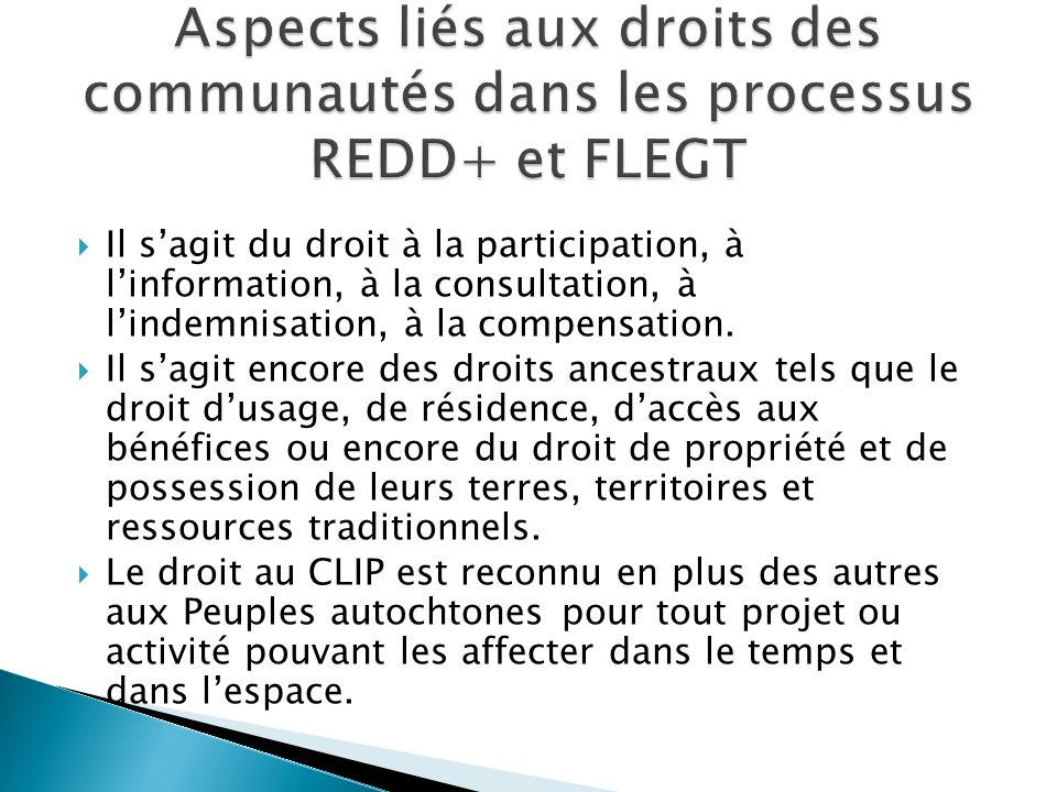 Aspects liés aux droits des communautés dans les processus REDD+ et FLEGT
