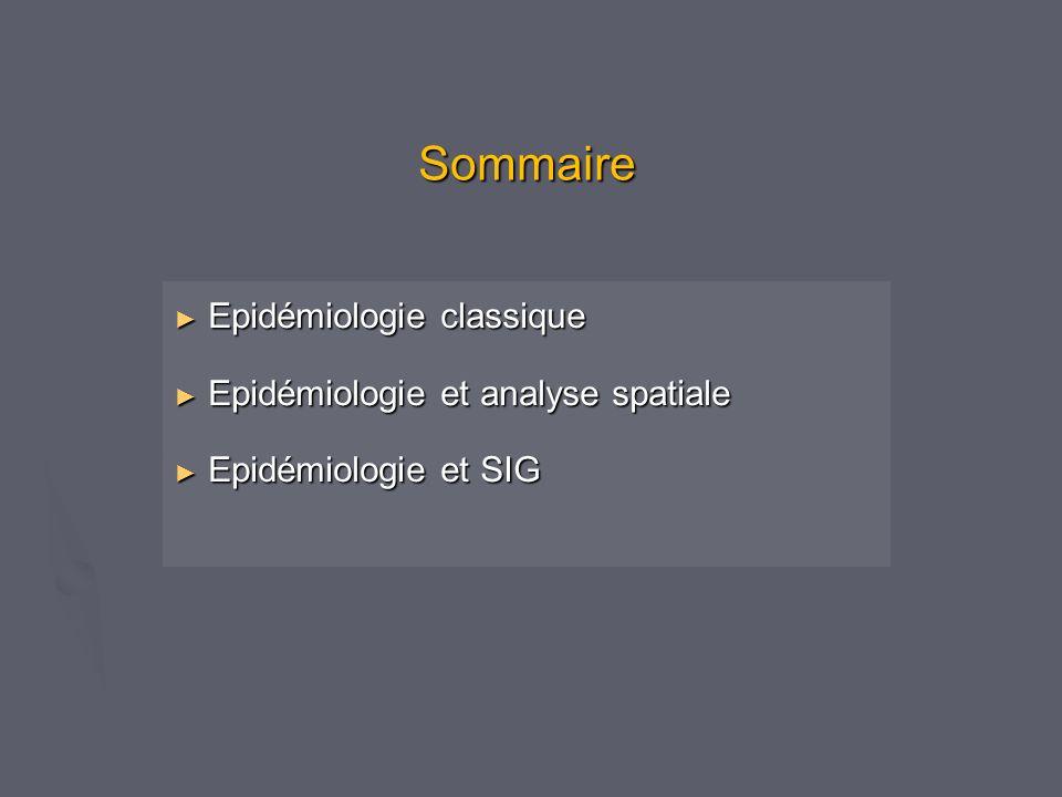 Sommaire Epidémiologie classique Epidémiologie et analyse spatiale
