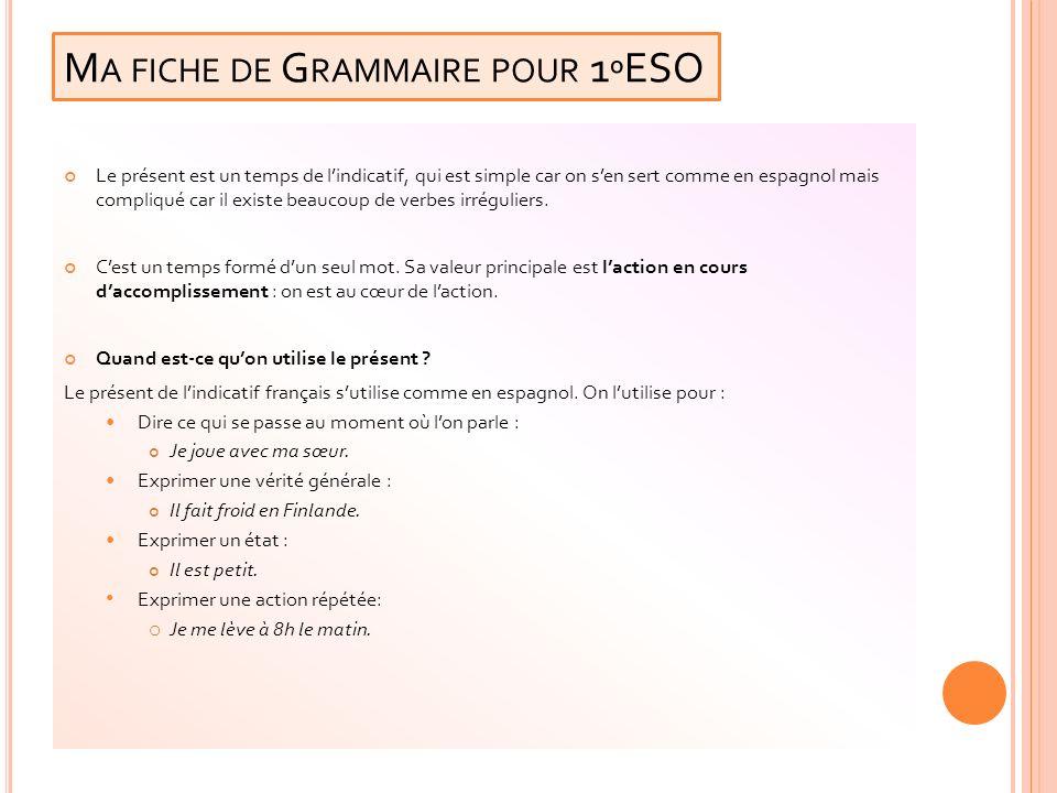 Ma fiche de Grammaire pour 1ºESO