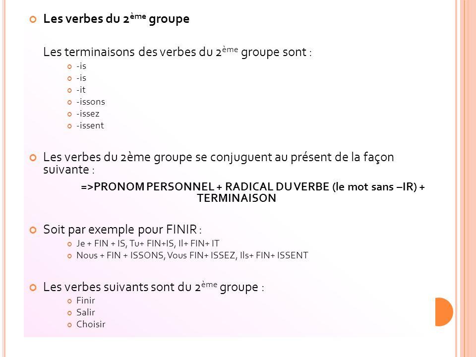 Les verbes du 2ème groupe
