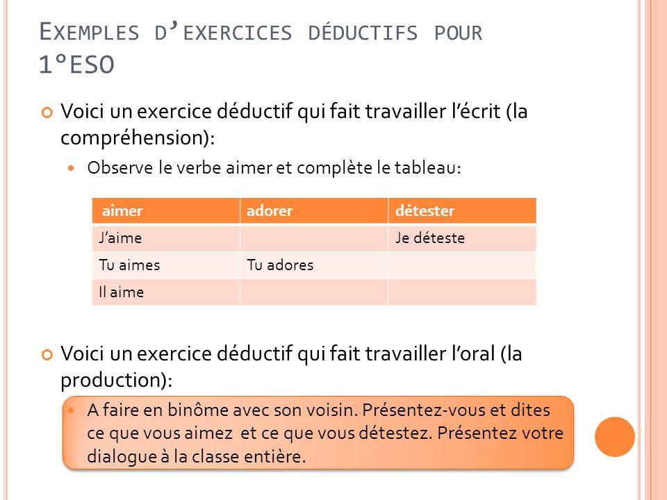 Exemples d'exercices déductifs pour 1°ESO