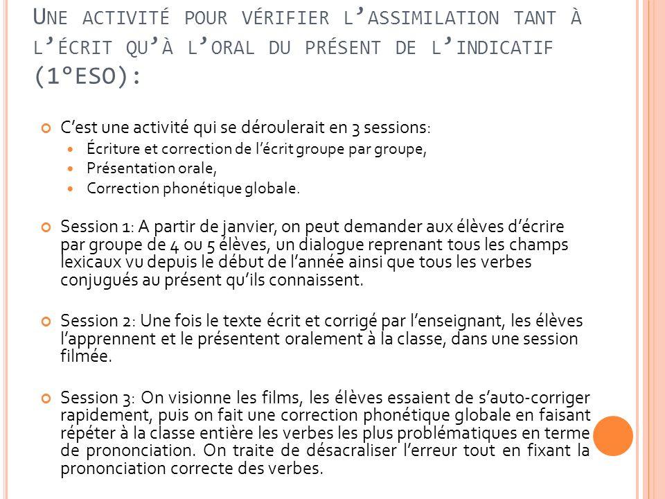 Une activité pour vérifier l'assimilation tant à l'écrit qu'à l'oral du présent de l'indicatif (1°ESO):