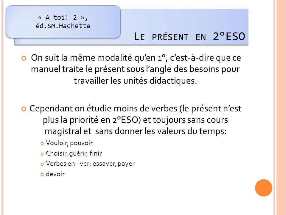 « A toi! 2 », éd.SM.Hachette Le présent en 2°ESO.