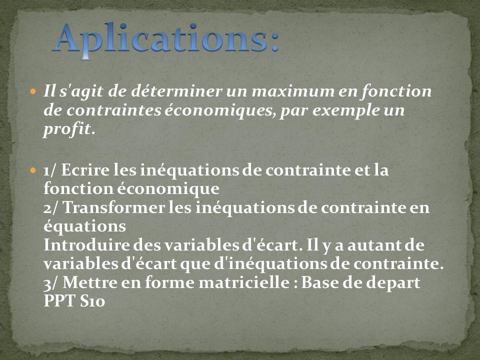 Aplications: Il s agit de déterminer un maximum en fonction de contraintes économiques, par exemple un profit.