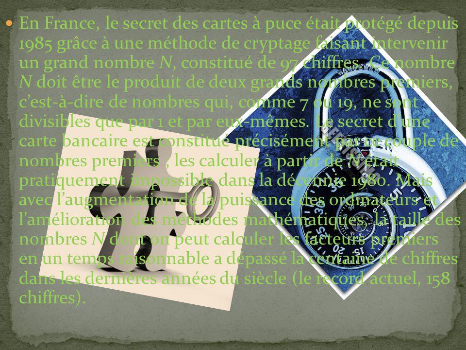 En France, le secret des cartes à puce était protégé depuis 1985 grâce à une méthode de cryptage faisant intervenir un grand nombre N, constitué de 97 chiffres.