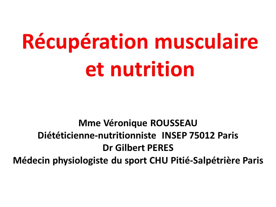 Récupération musculaire et nutrition