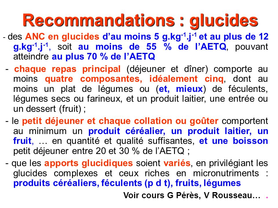 Recommandations : glucides