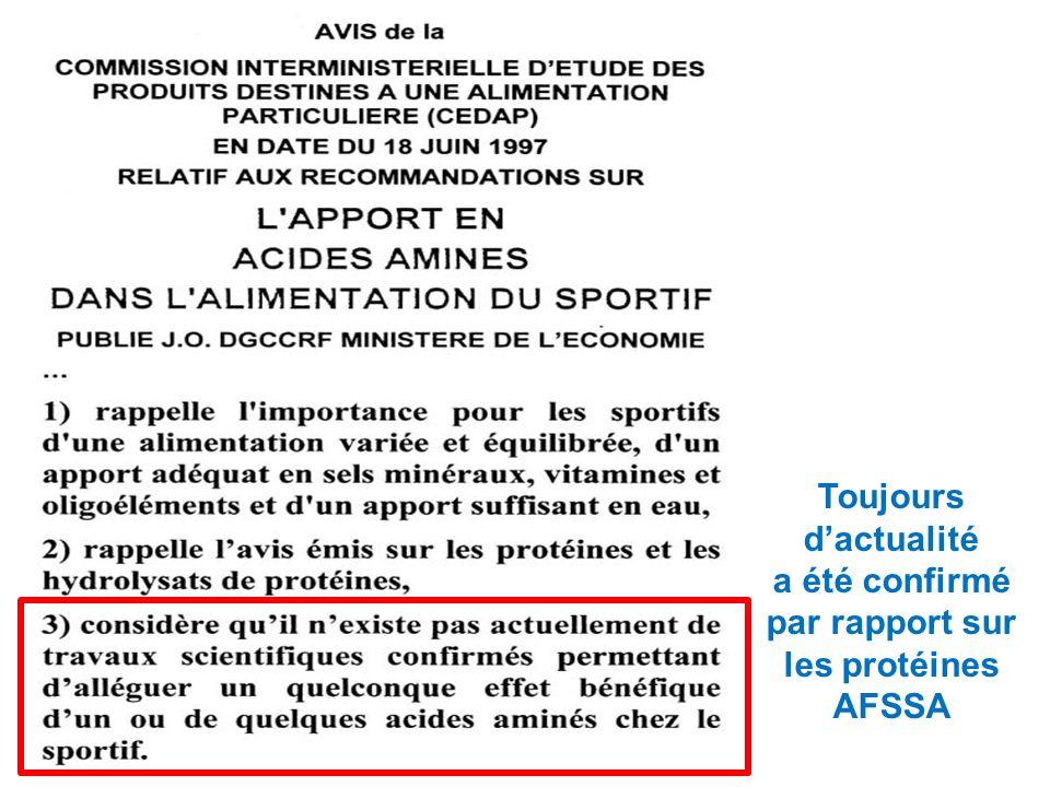Toujours d'actualité a été confirmé par rapport sur les protéines AFSSA