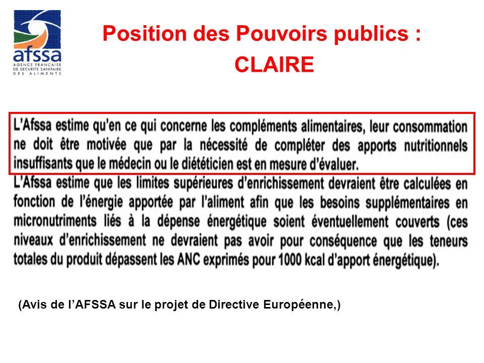 Position des Pouvoirs publics : CLAIRE