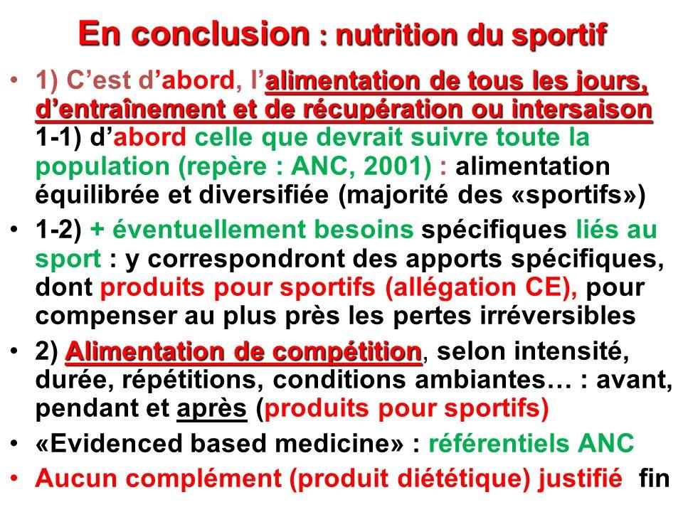 En conclusion : nutrition du sportif