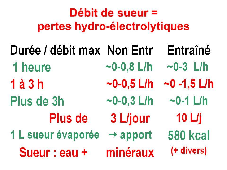 Débit de sueur = pertes hydro-électrolytiques