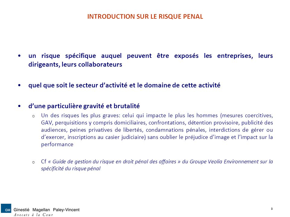 INTRODUCTION SUR LE RISQUE PENAL