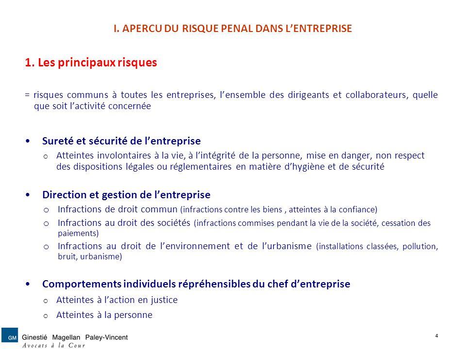 I. APERCU DU RISQUE PENAL DANS L'ENTREPRISE