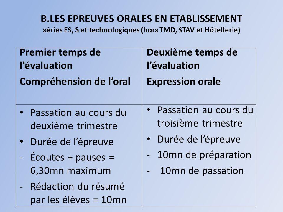 B.LES EPREUVES ORALES EN ETABLISSEMENT séries ES, S et technologiques (hors TMD, STAV et Hôtellerie)