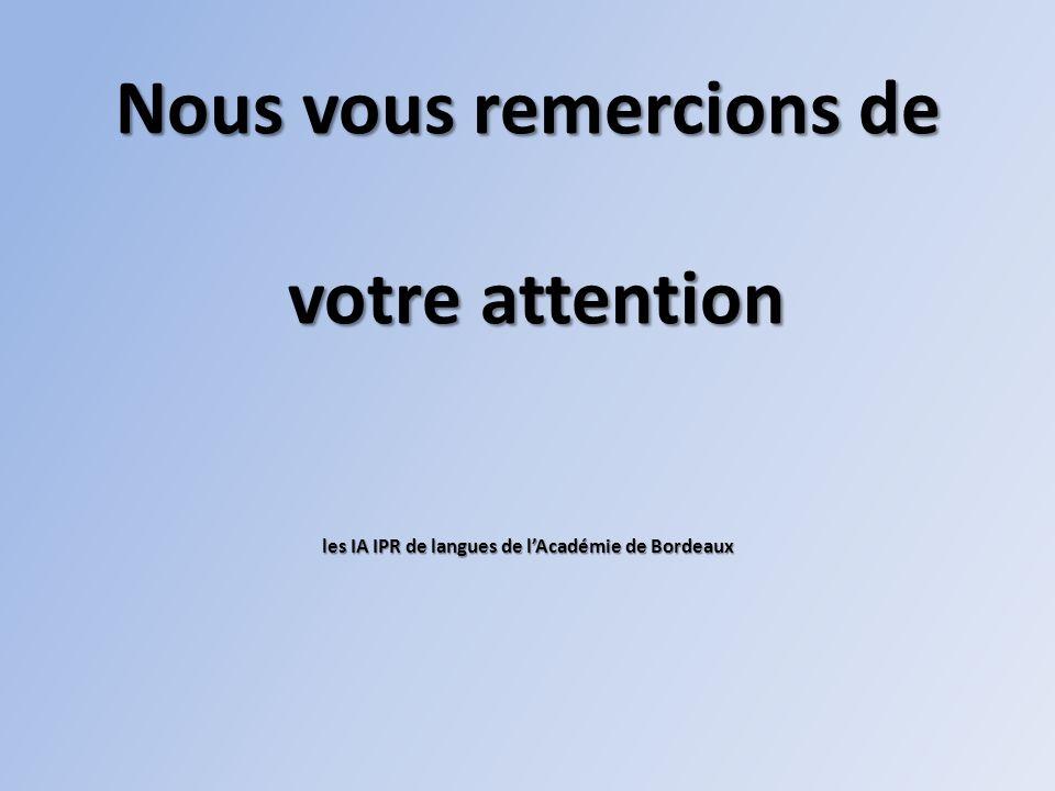 Nous vous remercions de votre attention les IA IPR de langues de l'Académie de Bordeaux