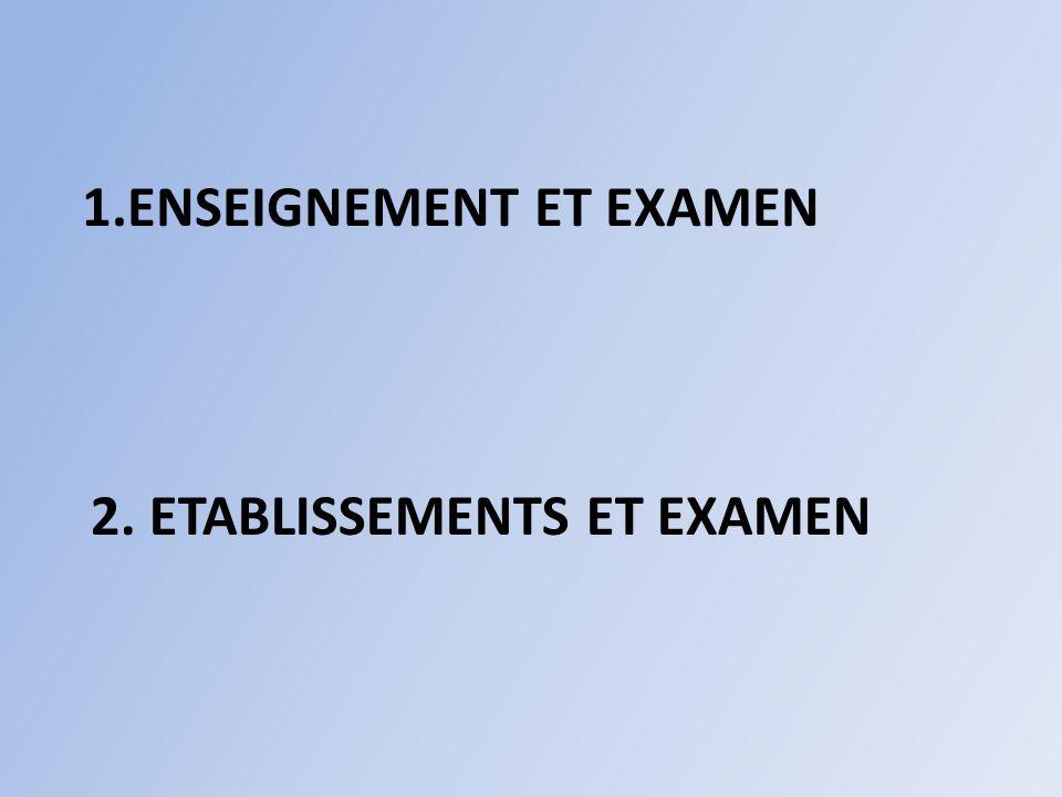 2. ETABLISSEMENTS ET EXAMEN