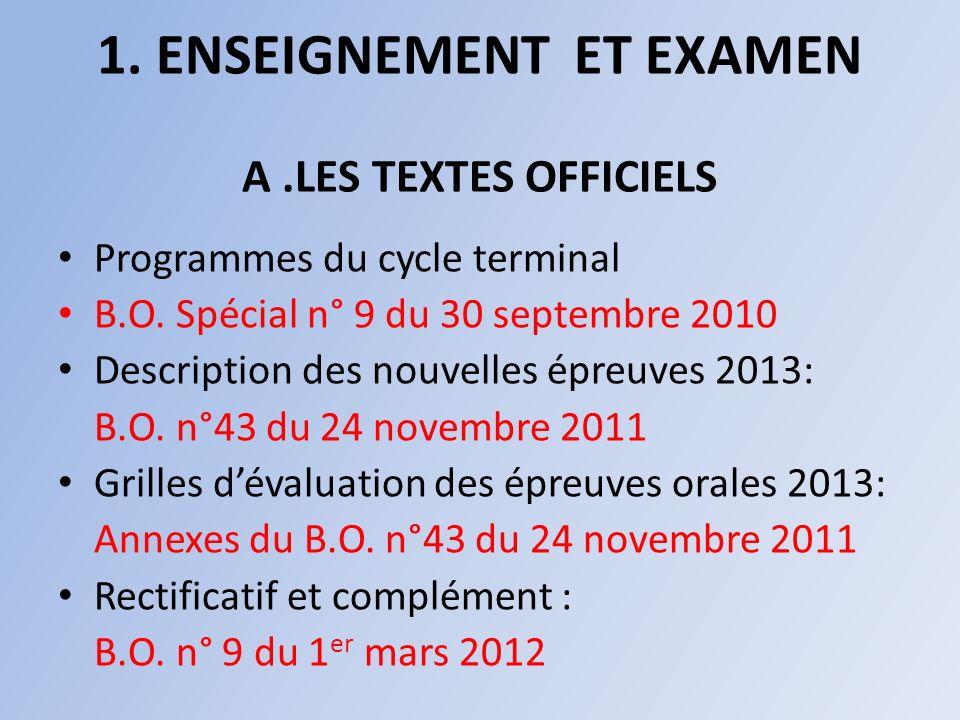 1. ENSEIGNEMENT ET EXAMEN A .LES TEXTES OFFICIELS