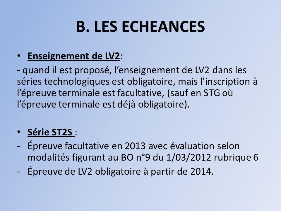 B. LES ECHEANCES Enseignement de LV2: