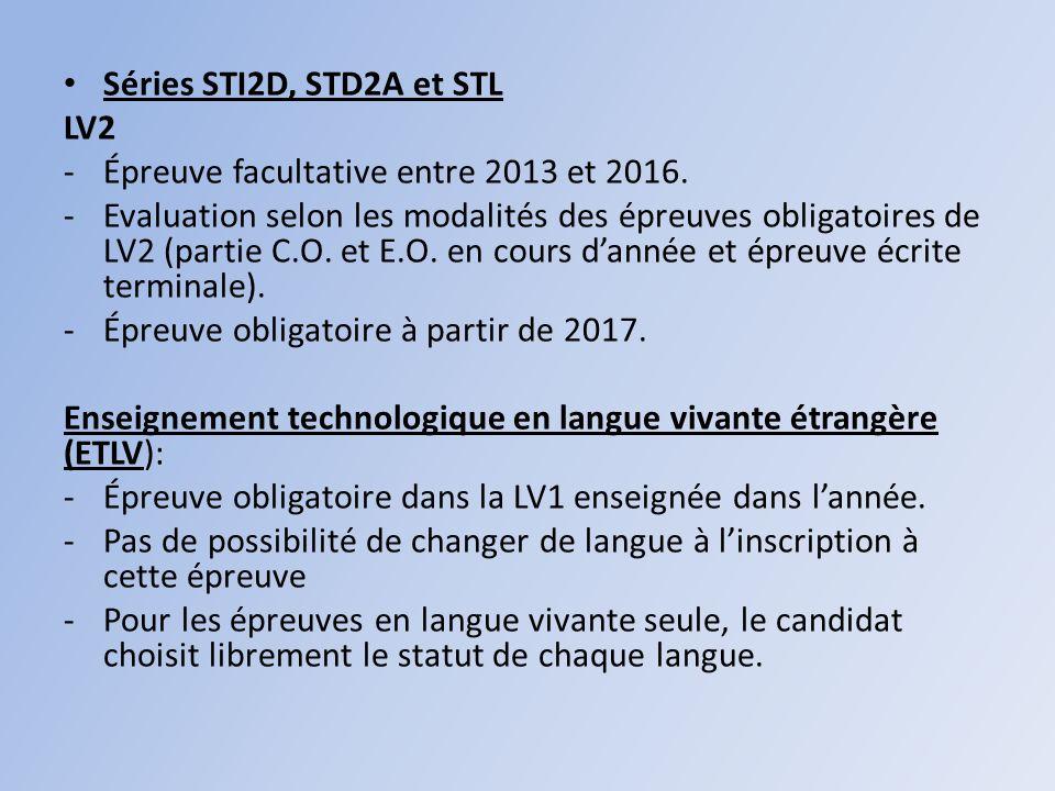 Séries STI2D, STD2A et STL LV2. Épreuve facultative entre 2013 et 2016.