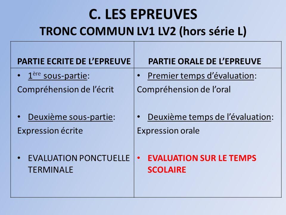C. LES EPREUVES TRONC COMMUN LV1 LV2 (hors série L)