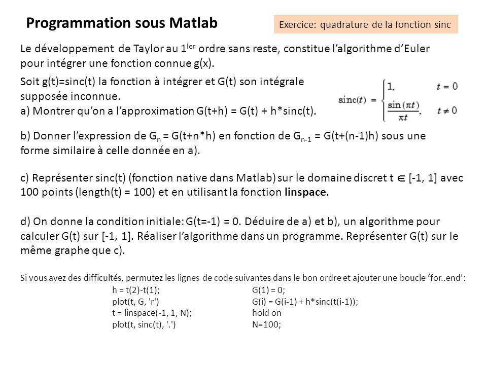 Programmation sous Matlab