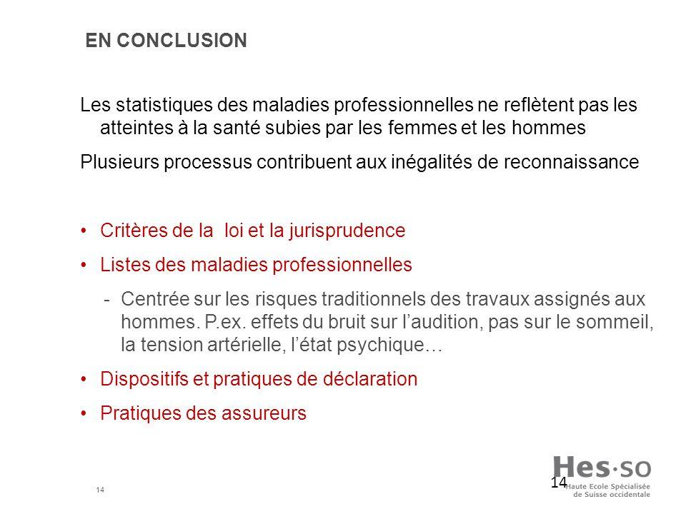 En conclusion Les statistiques des maladies professionnelles ne reflètent pas les atteintes à la santé subies par les femmes et les hommes.