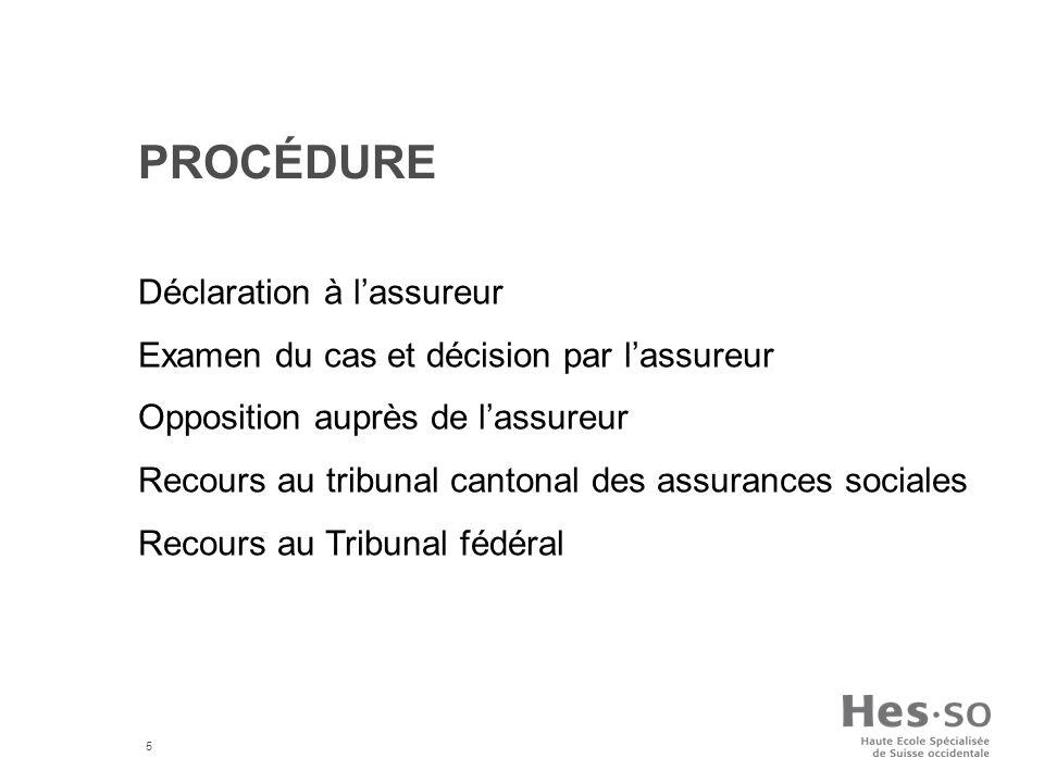 Procédure Déclaration à l'assureur
