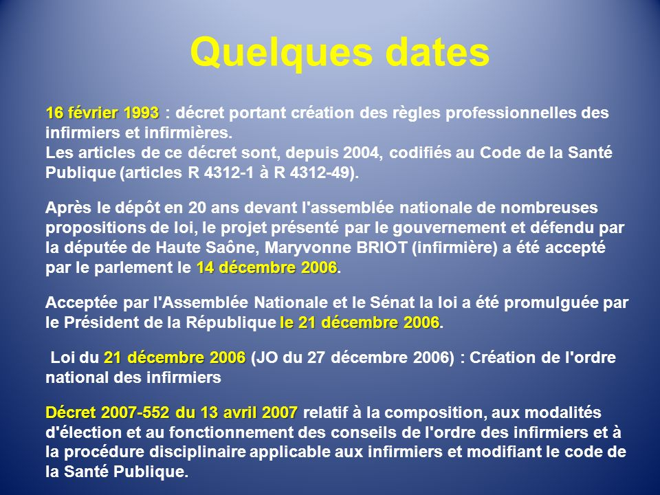 Quelques dates.