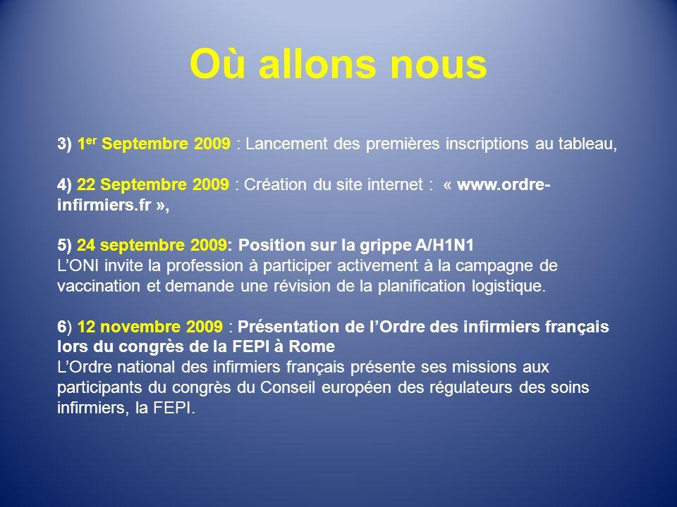 Où allons nous 3) 1er Septembre 2009 : Lancement des premières inscriptions au tableau,