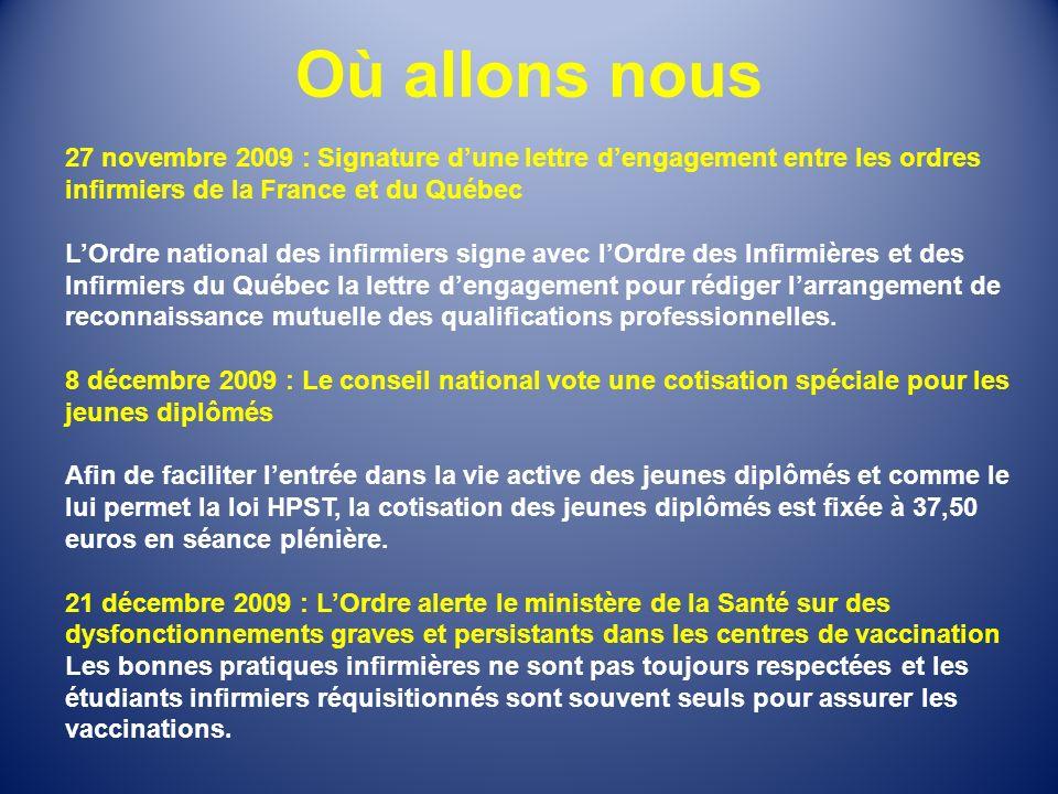 Où allons nous 27 novembre 2009 : Signature d'une lettre d'engagement entre les ordres infirmiers de la France et du Québec.