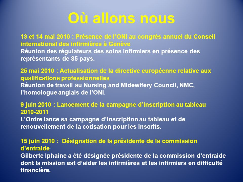 Où allons nous 13 et 14 mai 2010 : Présence de l'ONI au congrès annuel du Conseil international des infirmières à Genève.