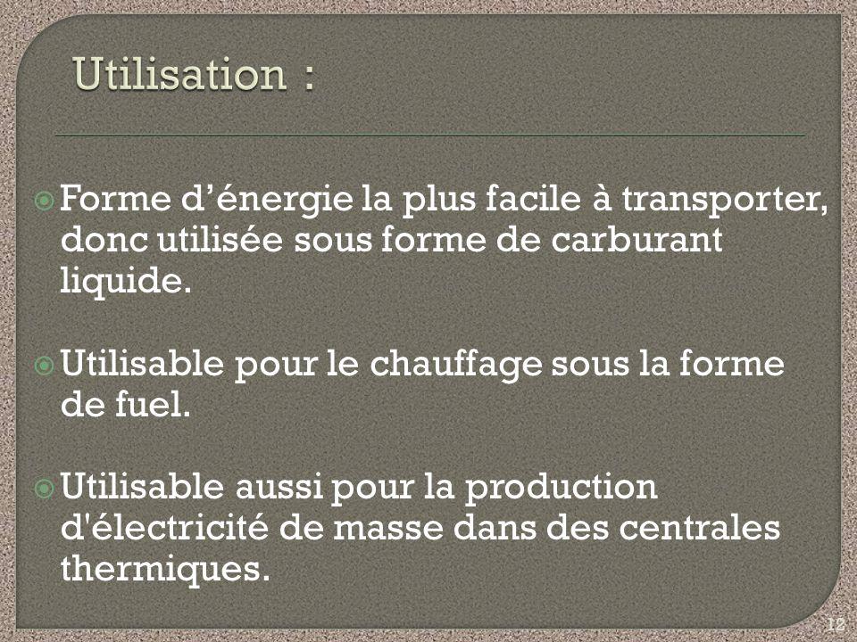 Utilisation : Forme d'énergie la plus facile à transporter, donc utilisée sous forme de carburant liquide.
