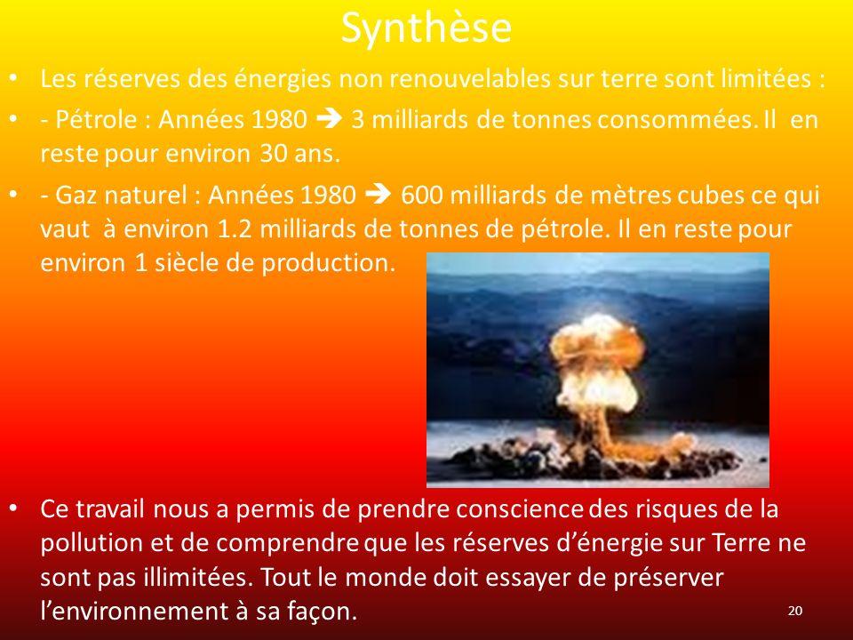 Synthèse Les réserves des énergies non renouvelables sur terre sont limitées :