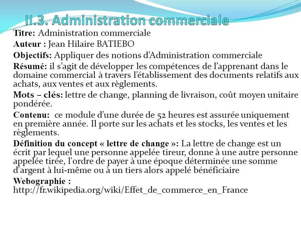 II.3. Administration commerciale