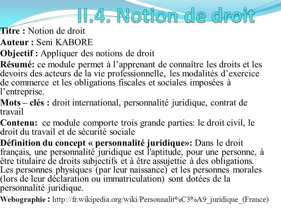 II.4. Notion de droit Titre : Notion de droit Auteur : Seni KABORE
